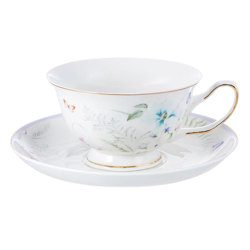 """Чайный сервиз 2 предмета, костяной фарфор, 220 мл, MILLIMI """"Воздушный замок"""""""