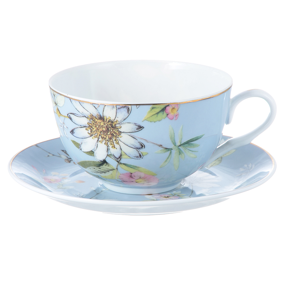 "Чайный сервиз 2 предмета, тонкий фарфор, 330 мл, MILLIMI ""Летний сон"""