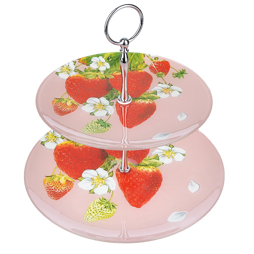 """Ваза для фруктов двухъярусная, стекло, 20 см, 25 см, 3 дизайна, """"Ягоды"""""""