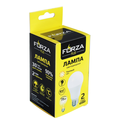 FORZA Лампа светодиодная A60 9W, E27, 806lm 3000К