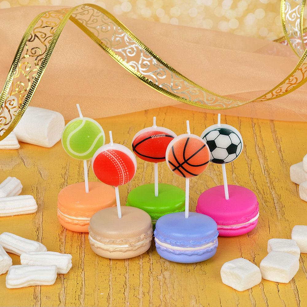 Набор свечей для торта с мячами, 5шт, парафин, 10х8х2см, Капитан Весельчак