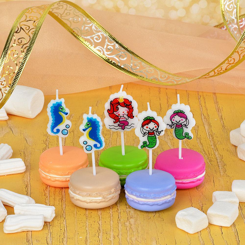 Набор свечей для торта в форме русалочкек, 5шт, парафин, 10х8х2см, Капитан Весельчак