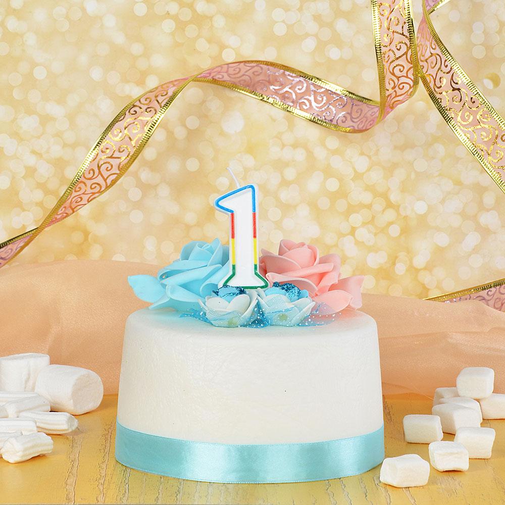 Свеча для торта в форме цифры 1, парафин, Капитан Весельчак