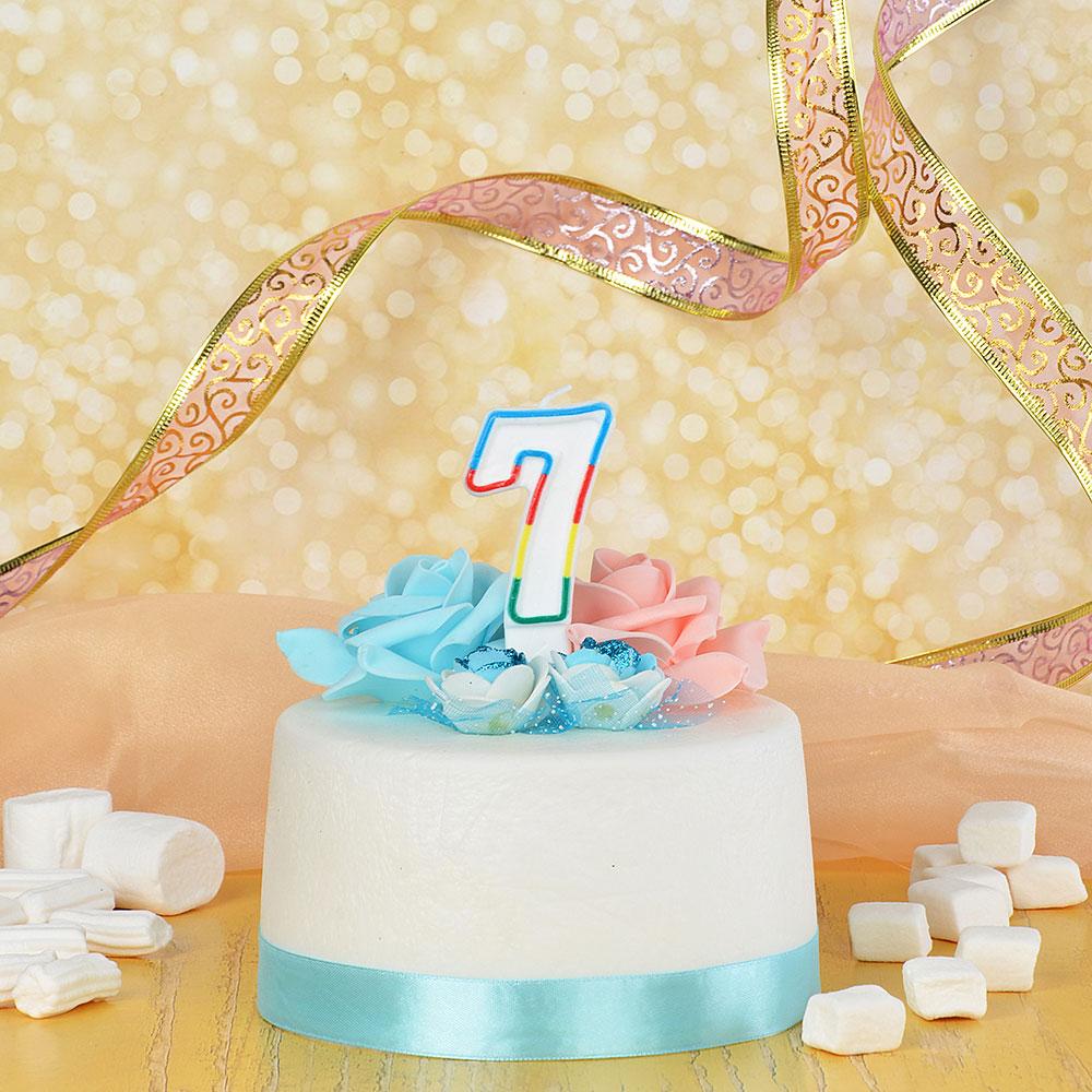 Свеча для торта в форме цифры 7, парафин, Капитан Весельчак