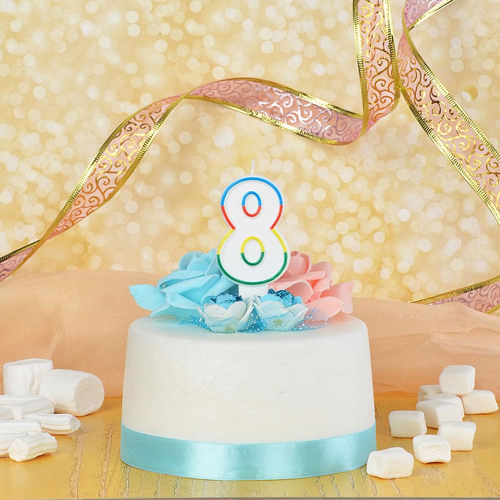 Свеча для торта в форме цифры 8, парафин, Капитан Весельчак