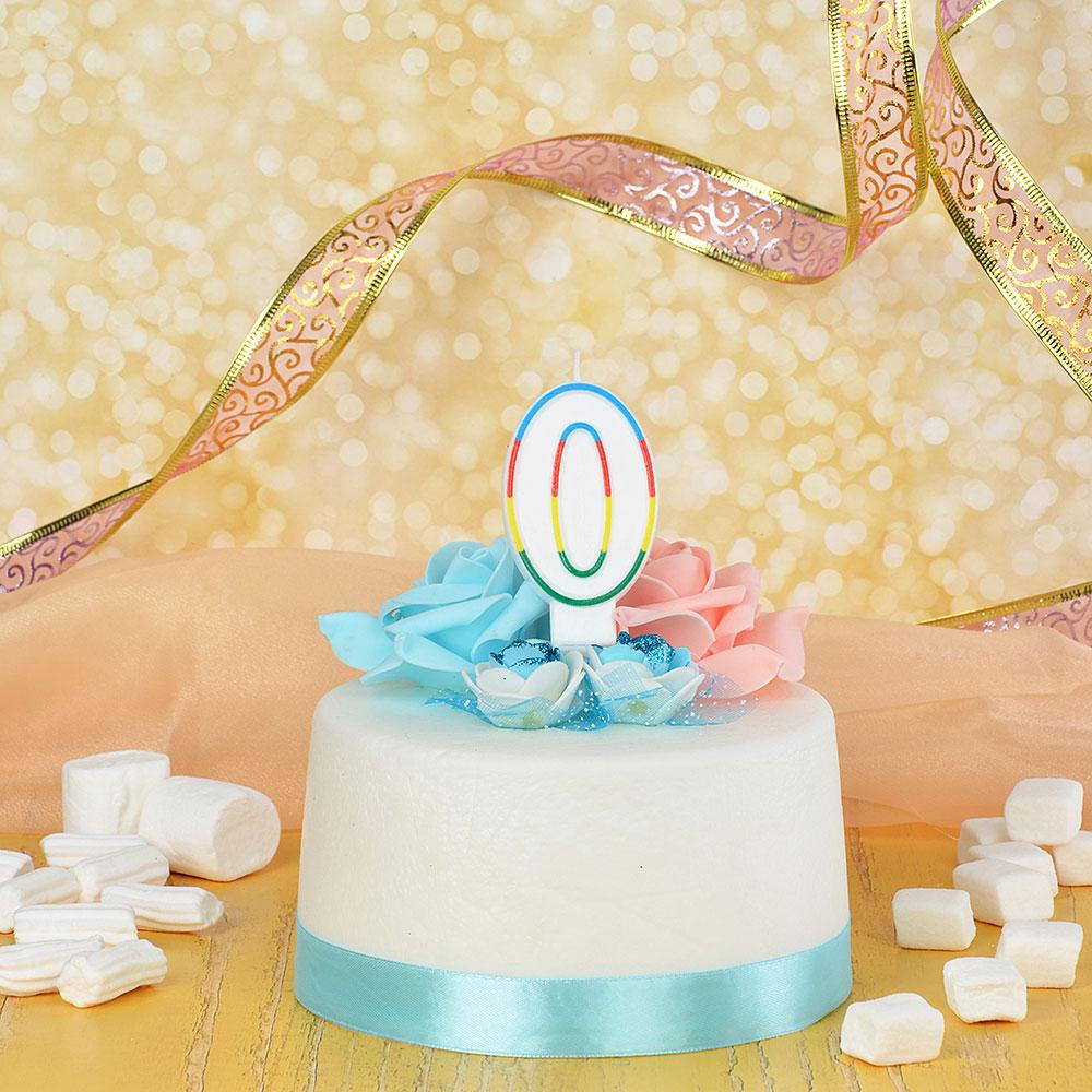Свеча для торта в форме цифры 0 парафин, Капитан Весельчак