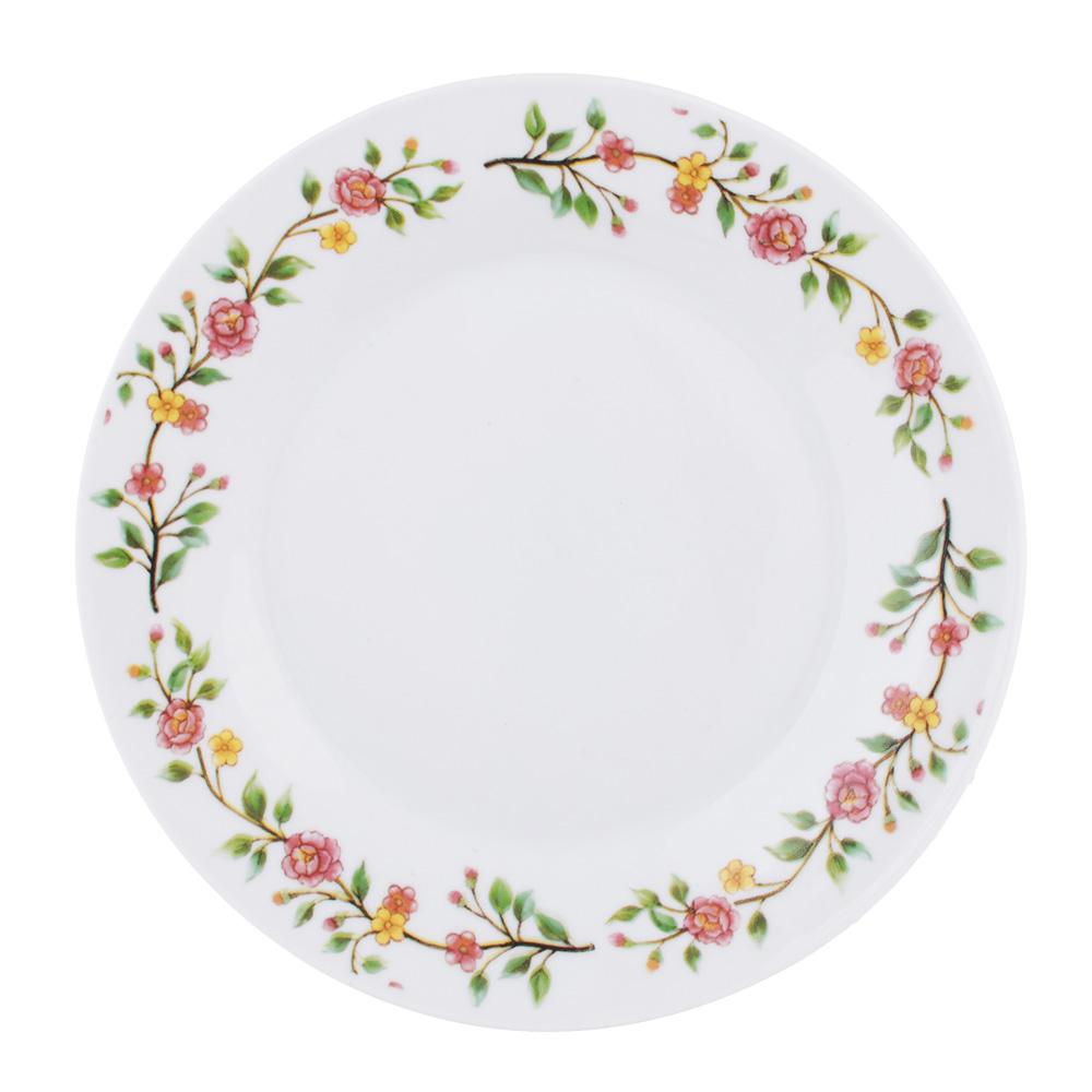 """Тарелка десертная фарфоровая, 19 см, """"Розовый венок"""""""
