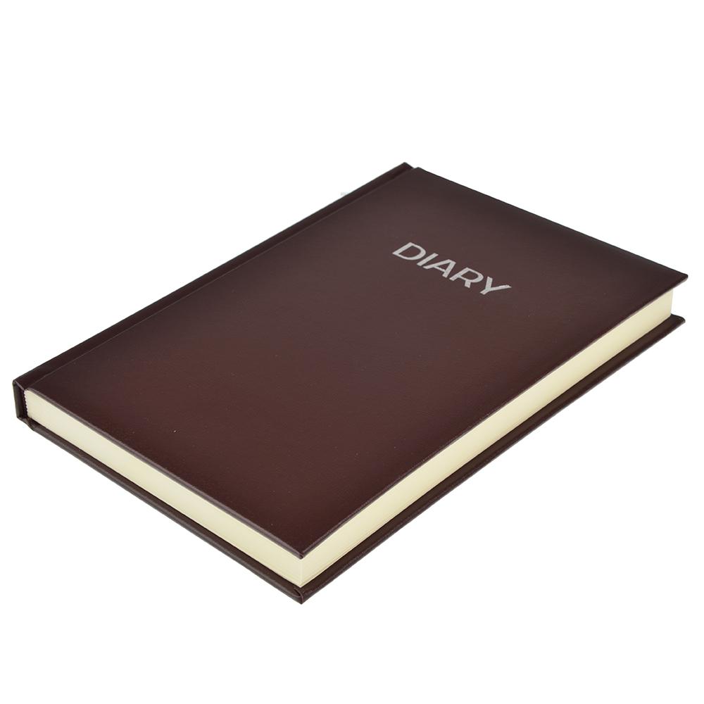 Недатированный ежедневник А5, 320 стр., ПВХ, бумага, твердая обложка с поролоном, коричневый, пакет