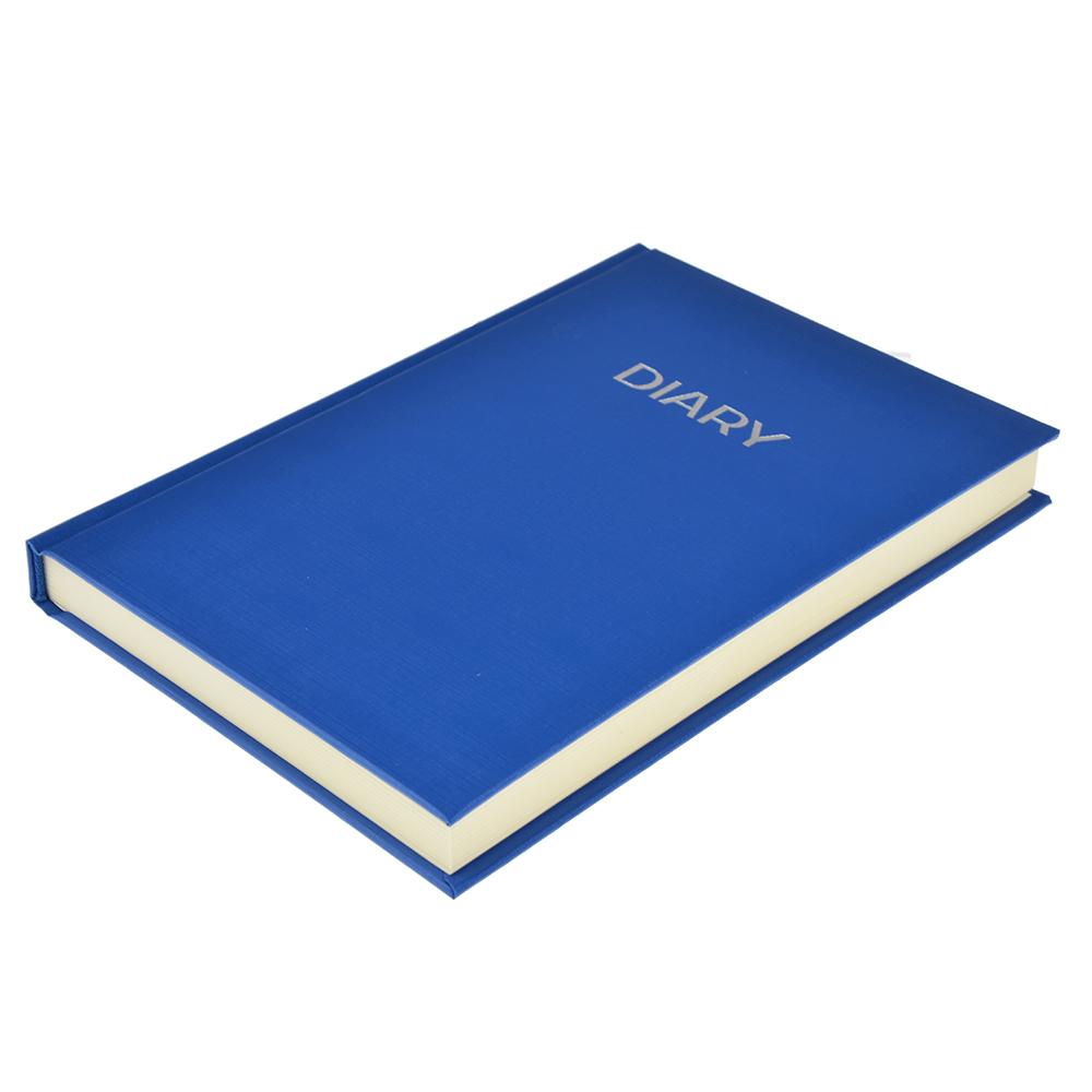 Недатированный ежедневник А5, 320 стр., ПВХ, бумага, твердая обложка с поролоном, темно-синий, пакет
