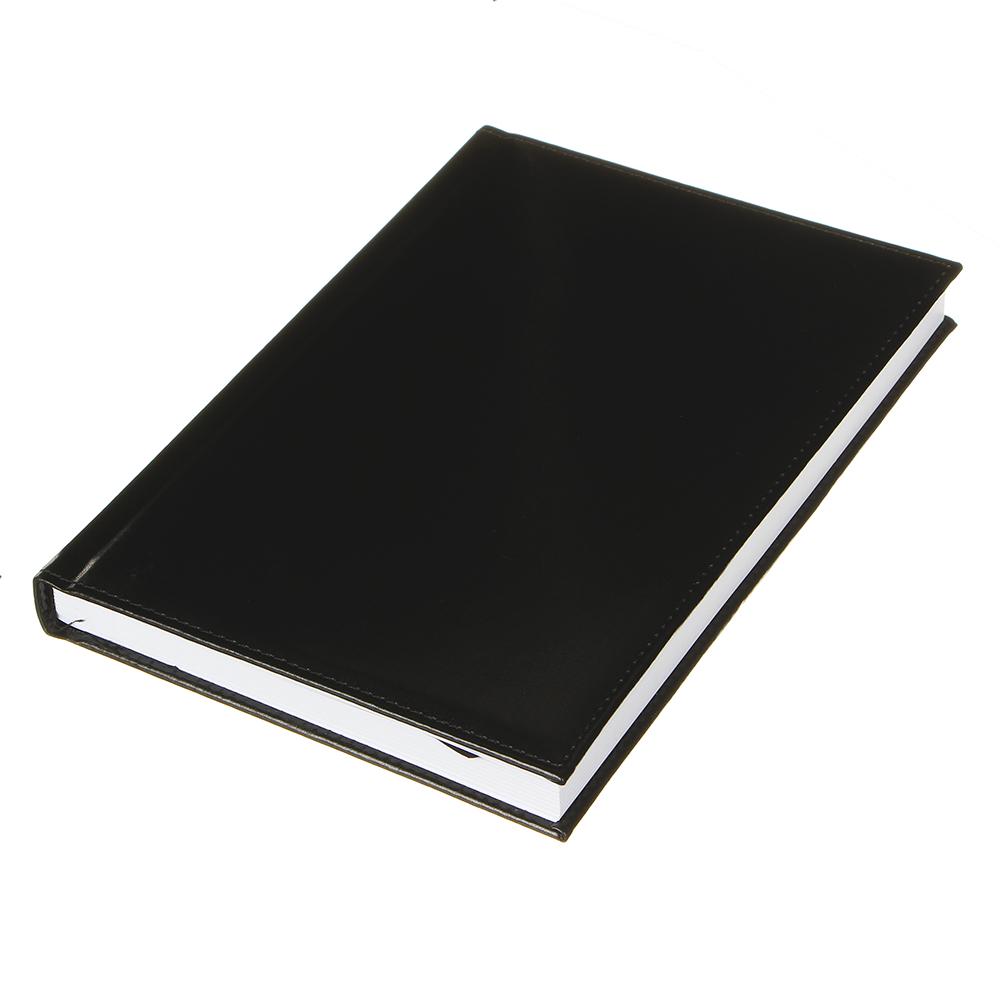 """Ежедневник недатир.""""Бизнес"""" А5,320стр, твердая обл.с поролоном, черный, ПУ, бумага, пакет"""