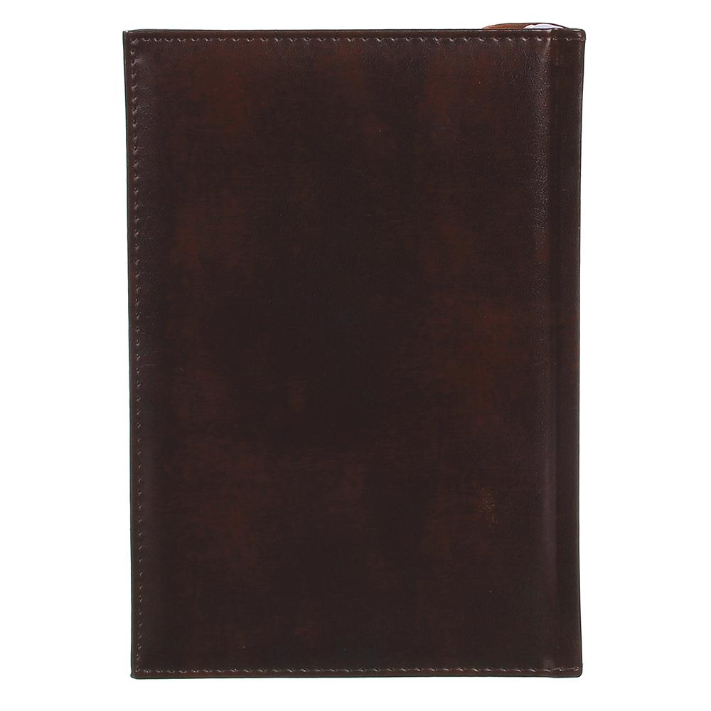 Недатированный ежедневник А5, 320 стр., ПВХ, бумага, твердая обложка с поролоном, коричневый, пакет,