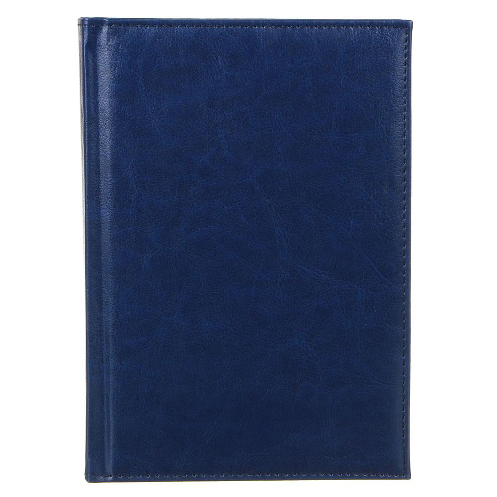 """Ежедневник недатир.""""Бизнес"""" А5,320стр, твердая обл.с поролоном, т.-синий, ПУ, бумага, пакет"""