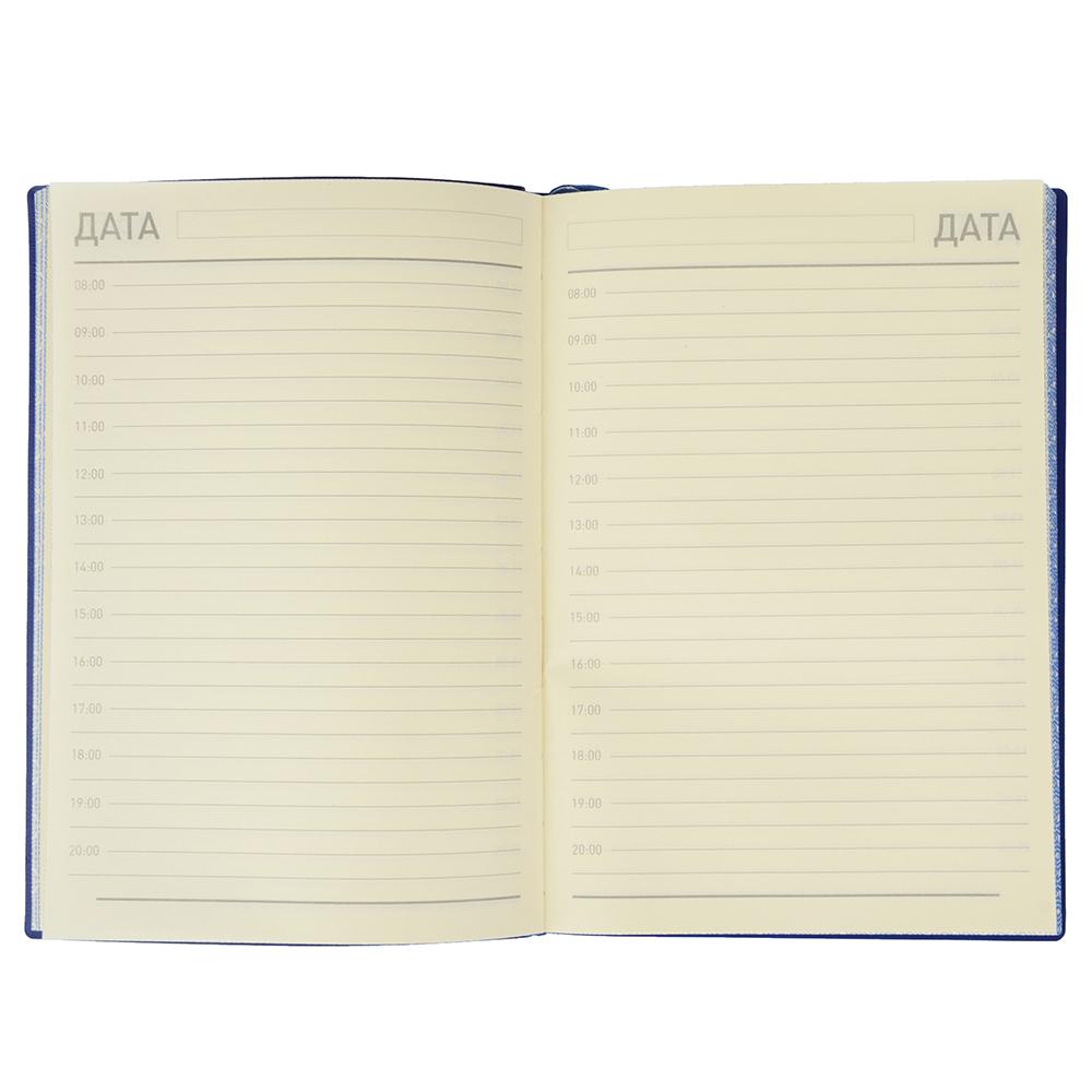 Недатированный ежедневник А5, 320 стр., ПУ, бумага, гибкая обложка, тиснение, темно-синий