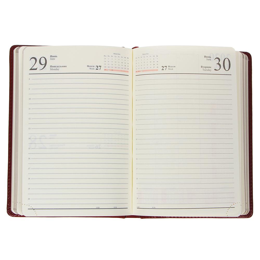 """Ежедневник на 2019, А5, 352стр, твердая обложка с поролоном, золотистый срез, бордо, ПУ, """"Престиж"""""""