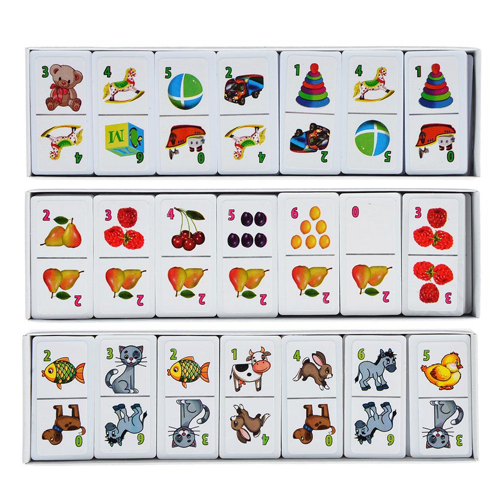 РЫЖИЙ КОТ Домино пластиковое, 28 фишек, пластик, картон, 18,5х6х1,5см