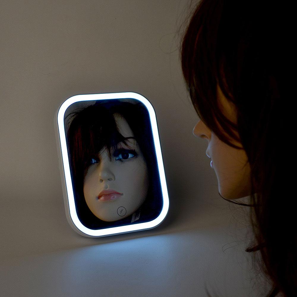 Зеркало настольное с LED-подсветкой, 18х13,6х1,7 см, 4хААА, пластик, стекло, USB-провод