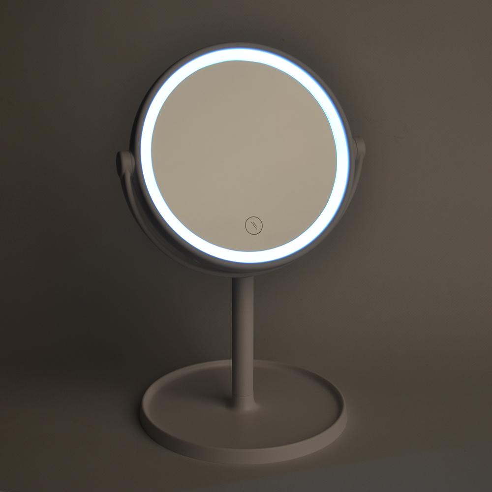 Зеркало настольное с LED-подсветкой, 17х30 см, 4хААА, пластик, стекло, USB-провод