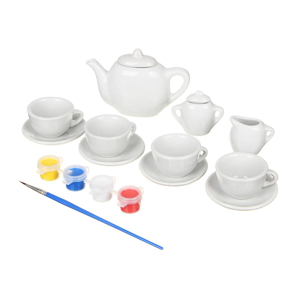 ХОББИХИТ Набор для творчества: посудка для росписи, краски, кисть, керамика, акрил, 22х18х5см