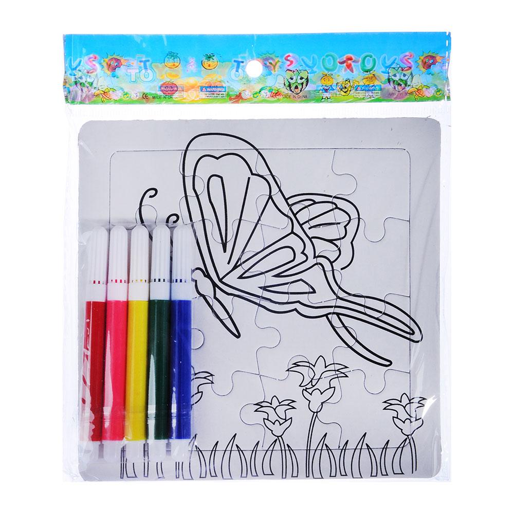 "Пазл-раскраска ""Малыш"" с фломастерами, картон, пластик, 13,5х13,5х2см, 10-12 дизайнов"