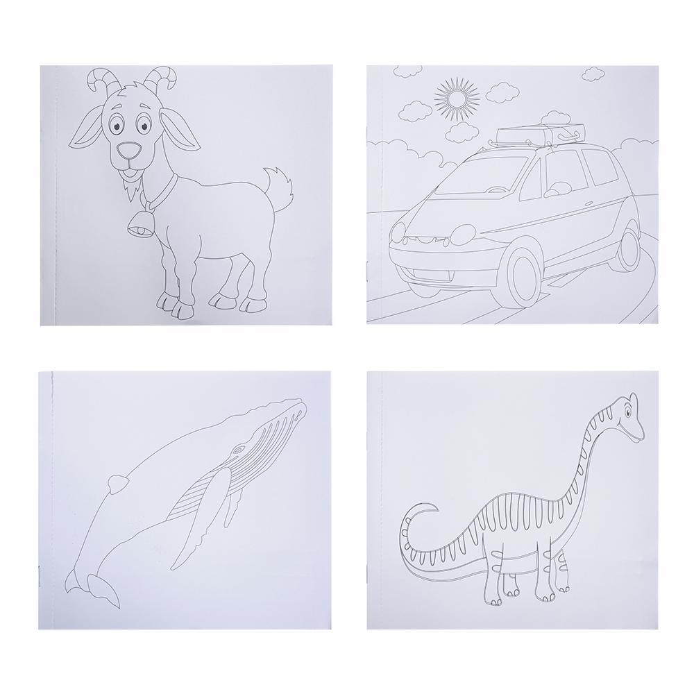 Пазл + набор раскрасок, 5 фломастеров в комплекте, картон, 17х19х1см, 6-12 дизайнов