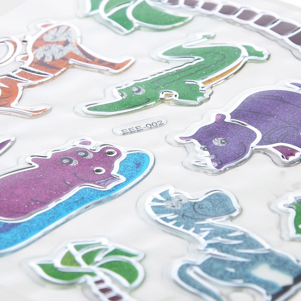 Набор 3D объемных декоративных наклеек с блестками, 21х15,5см, 6-12 дизайнов