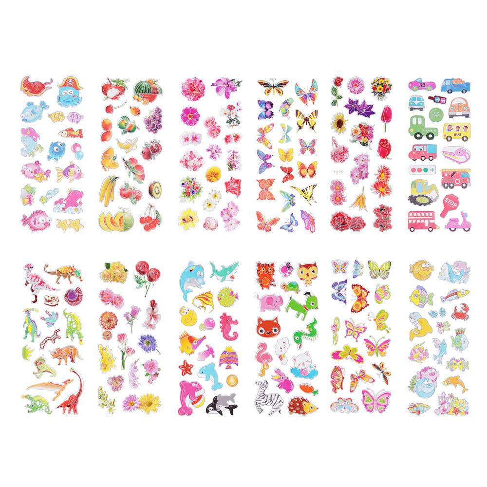 Набор детских декоративных наклеек на прозрачной основе, 21,5х7см, 15-20 дизайнов
