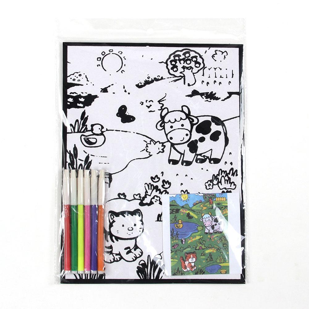 Раскраска бархатная ассорти, бумага, 21х28см, 6 фломастеров, 8-16 дизайнов