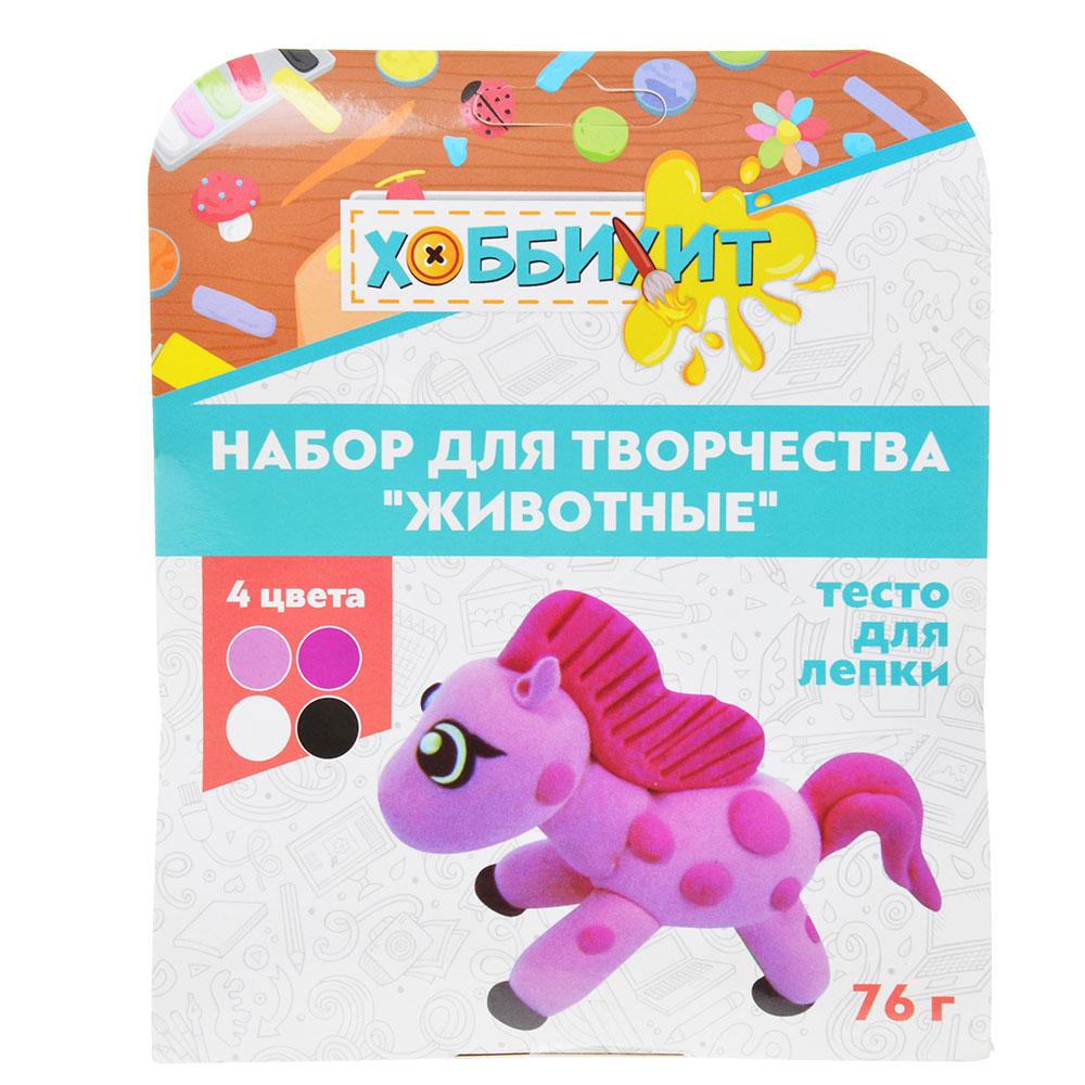 """ХОББИХИТ Набор для творчества """"Животные"""", тесто для лепки 76г, 4 дизайна"""