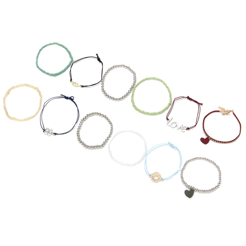 BERIOTTI Набор браслетов 3шт, пластик, полиэстер, сплав, 8-9см, 4 дизайна, БЖ18-49