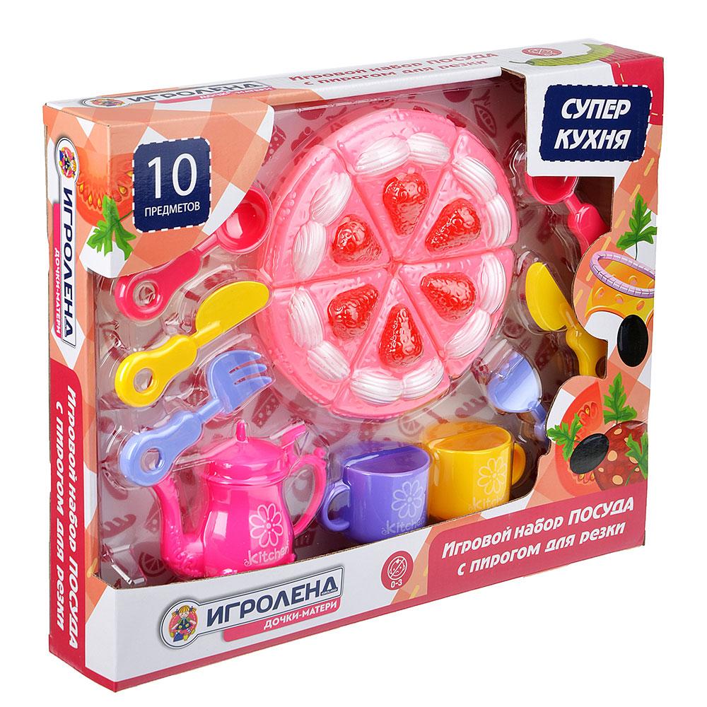 "Набор игровой ""Посуда с пирогом для резки"", 10 пр., пластик, 36х29х6,5см"