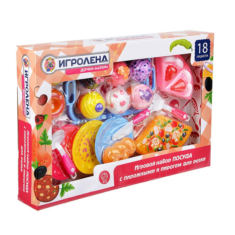 """Набор игровой """"Посуда с пирожными и пирогом для резки"""", 18 пр., пластик, 42х28,5х6см"""