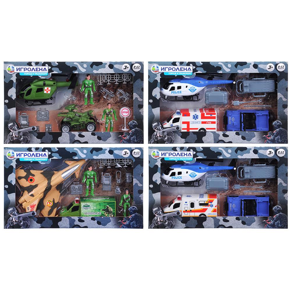 """Набор игровой """"Вооруженные силы"""", 8-13пр., пластик, 42х25х7,5см, 4 дизайна"""