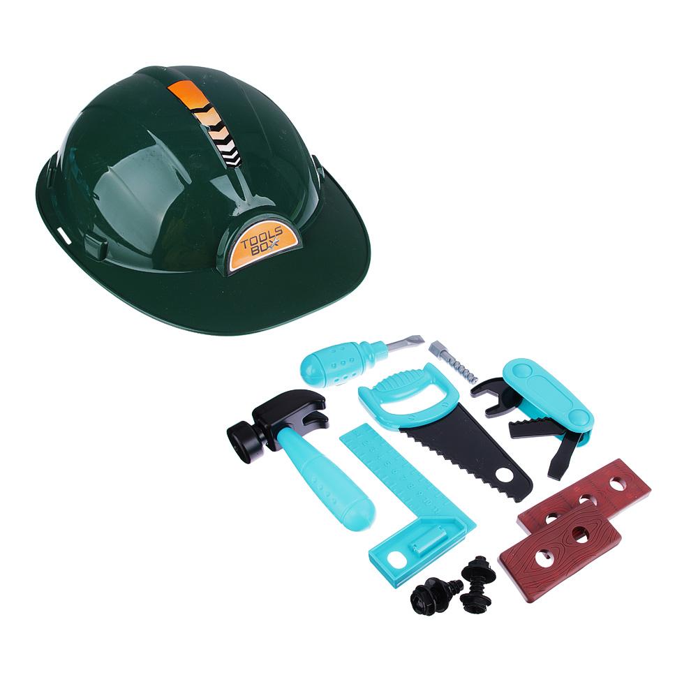Набор инструментов в каске, 10предметов, пластик, 23х18х8 см