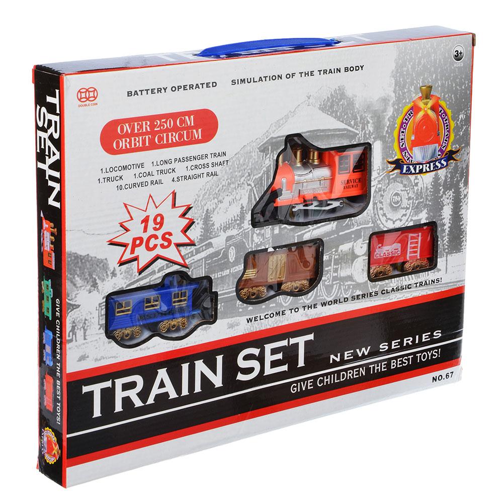 Железная дорога на батарейках, 19 деталей, длина пути 250см, пластик,35,6х37,7х4,1см