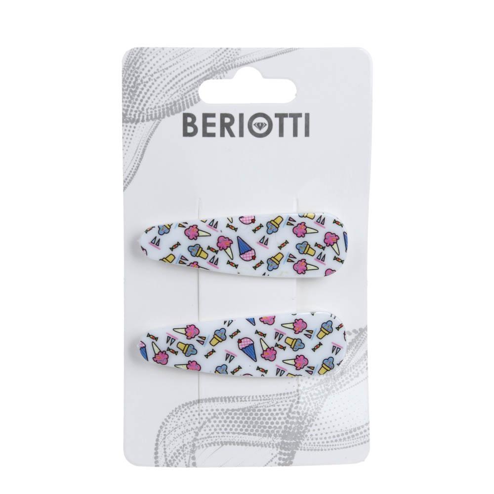 Набор зажимов для волос 2шт., пластик, сплав, 5 см, 6 цветов