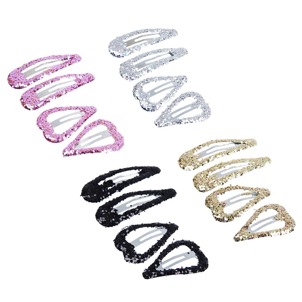 Набор заколок-зажимов для волос 4шт., сплав, 3,5 см, 4,5 см, 2 дизайна, 4 цвета
