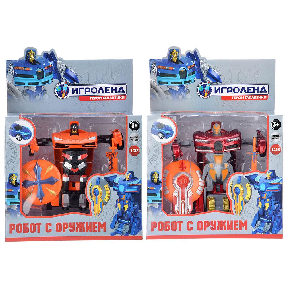 ИГРОЛЕНД Робот трансформирующийся с оружием, металл, пластик, 17,5х24х9,5см, 2 дизайна