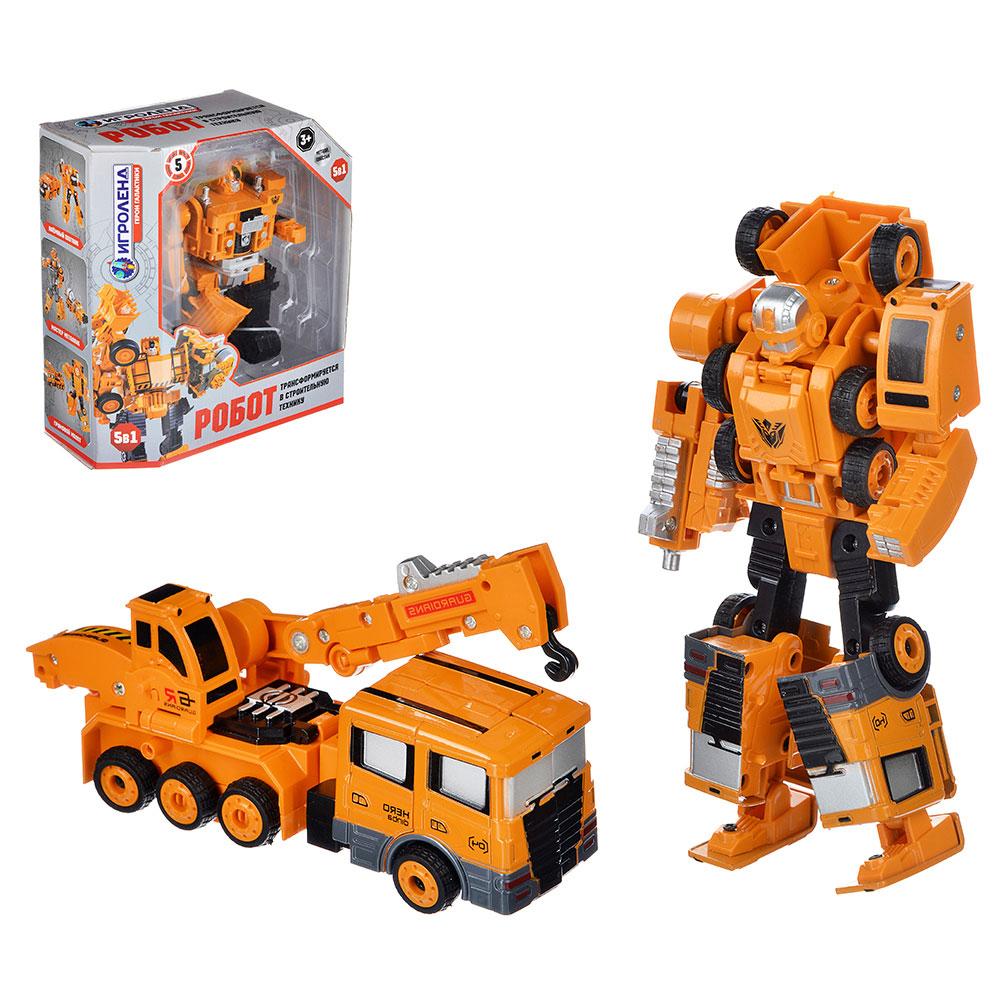 ИГРОЛЕНД Робот трансформирующийся в строительную технику, металл, пласт., 21,5х24,5х9,5см 5 дизайнов