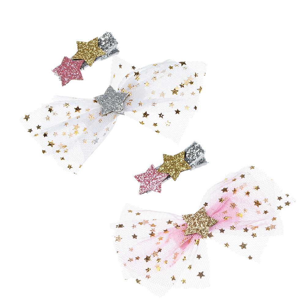 Набор зажимов для волос с декором звезда, 2 цвета