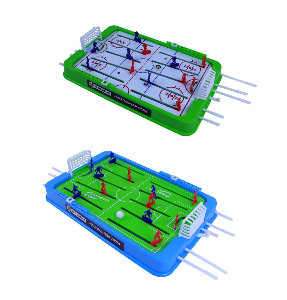 ИГРОЛЕНД Настольная игра Футбол/Хоккей, пластик, 36х22х5,5см, 2 дизайна