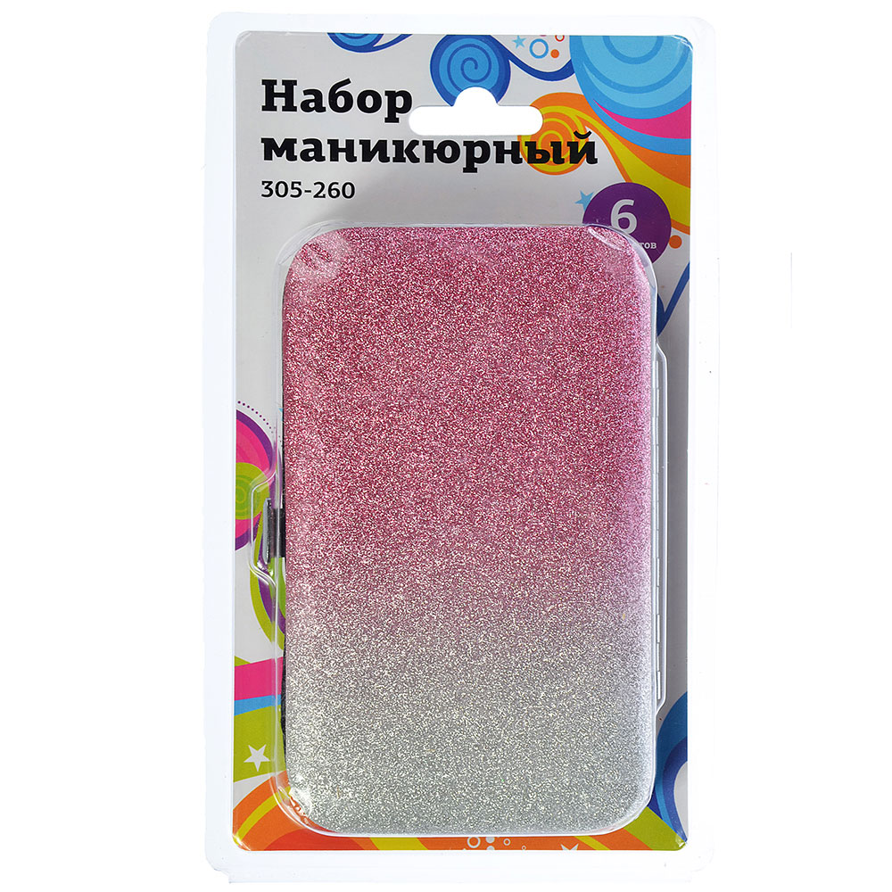 Набор маникюрный 6пр, ПВХ, сплав, пластик, 12х7см, 4-7 цветов