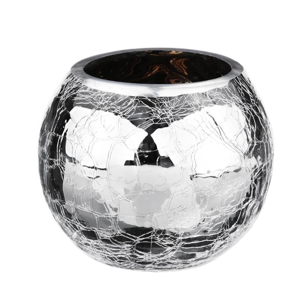 Ваза стеклянная с эффектом битого стекла, с серебристым нанесением, 9х12 см