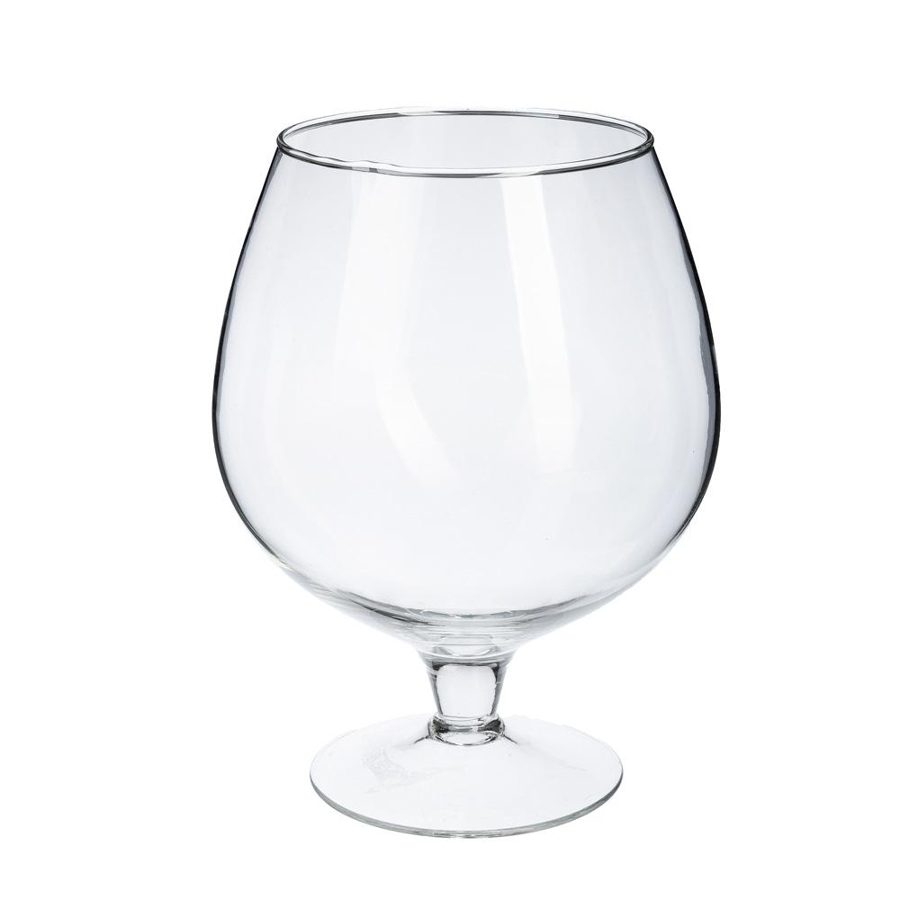 Ваза стеклянная в виде бокала, 25х18,5 см, 3,5 л, арт.1682