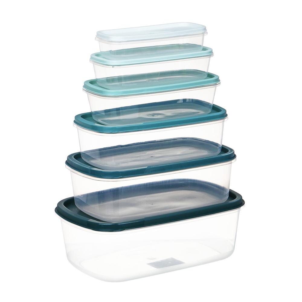 Набор контейнеров 6шт, пластик, 22x15,5x7,5см