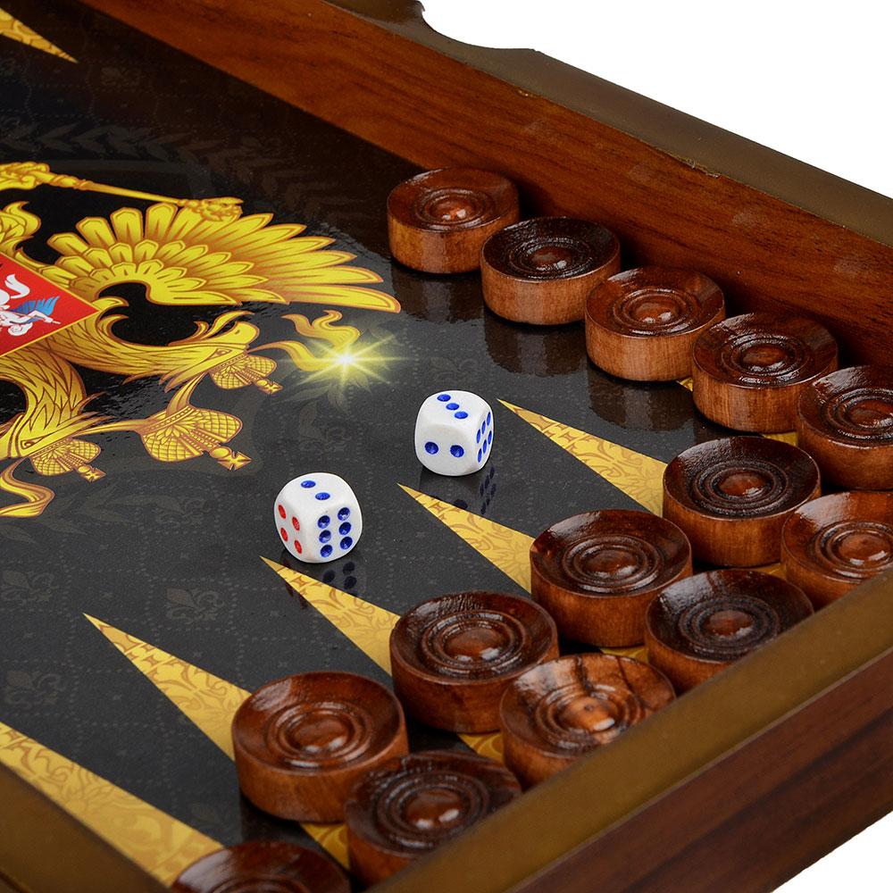 Нарды в подарочной коробке, 40х20х6,3см, дерево, дизайн с гербом
