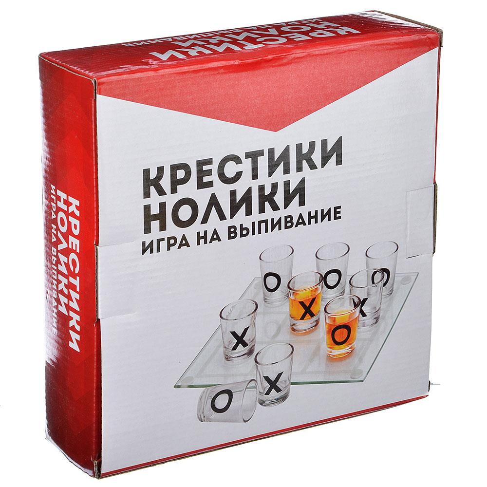 """Игра на выпивание """"Крестики нолики"""", 22х22х6,3 см, стекло"""