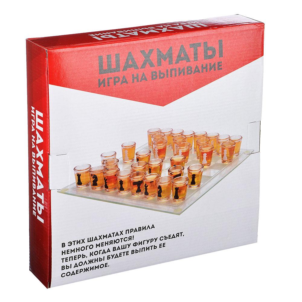 """Игра на выпивание """"Шахматы"""", 28х28х5,5 см, стекло"""