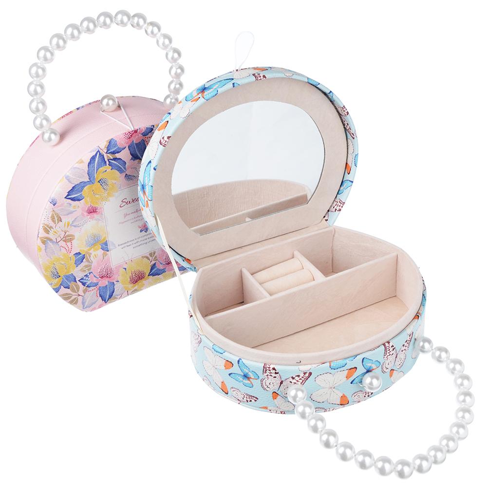 Шкатулка для украшений с отделениями и зеркалом 18,5х14,5х7 см, полиэстер, 2 дизайна