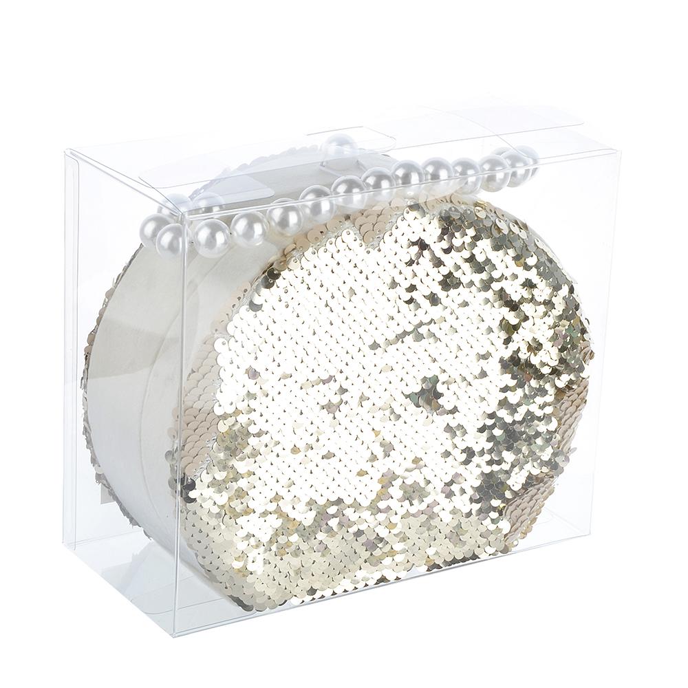 Шкатулка для украшений с отделениями и зеркалом 18,5х15х7,5 см, полиэстер, 2 цвета