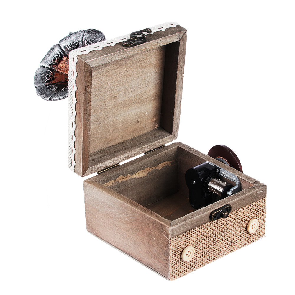 Шкатулка музыкальная 11х11х15 см, МДФ, полистоун